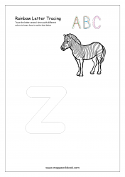 Rainbow Writing Worksheet - Alphabet/Letter Tracing - Small z