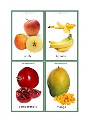 Fruits Flash Cards - Apple, Banana, Pomegranate, Mango