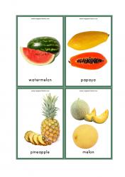 Fruits Flash Cards - Watermelon, Pineapple, Melon, Papaya