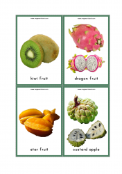 Fruits Flash Cards - Kiwi Fruit, Dragon Fruit, Star Fruit, Custard Apple
