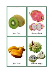 Fruits Flash Cards - Kiwi Fruit, Dragon Fruit, Star Fruit, Custard Apple