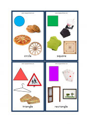 Shapes Flashcards - 2D Shapes With Objects/Examples - Circle, Square, Triangle, Rectangle
