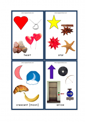 Shapes Flashcards - 2D Shapes With Objects/Examples - Heart, Star, Moon (Crescent), Arrow