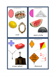 Shapes Flashcards - 2D Shapes With Objects/Examples - Oval, Semi-circle, Cross (Plus), Diamond