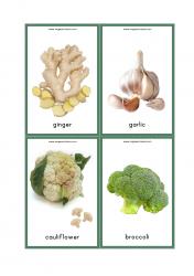 Vegetables Flash Cards - Ginger, Garlic, Broccoli, Cauliflower