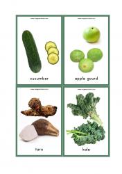 Vegetables Flash Cards - Cucumber, Apple Gourd, Taro, Kale