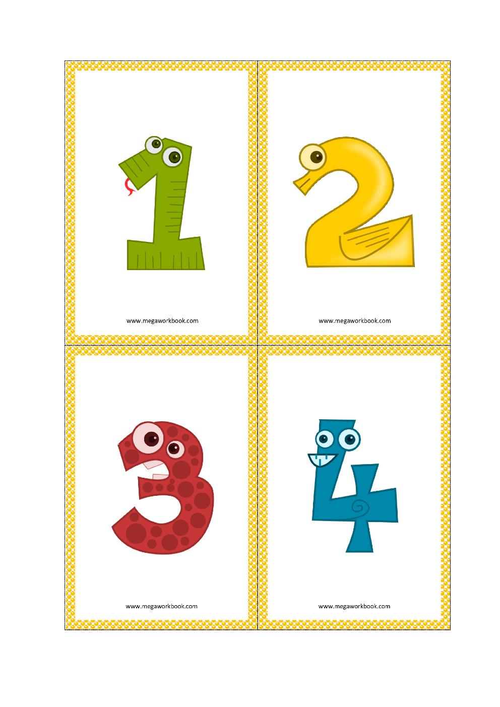 Number Flashcards Number Flashcards Printable Free 1 To 10 1 To 20 Megaworkbook