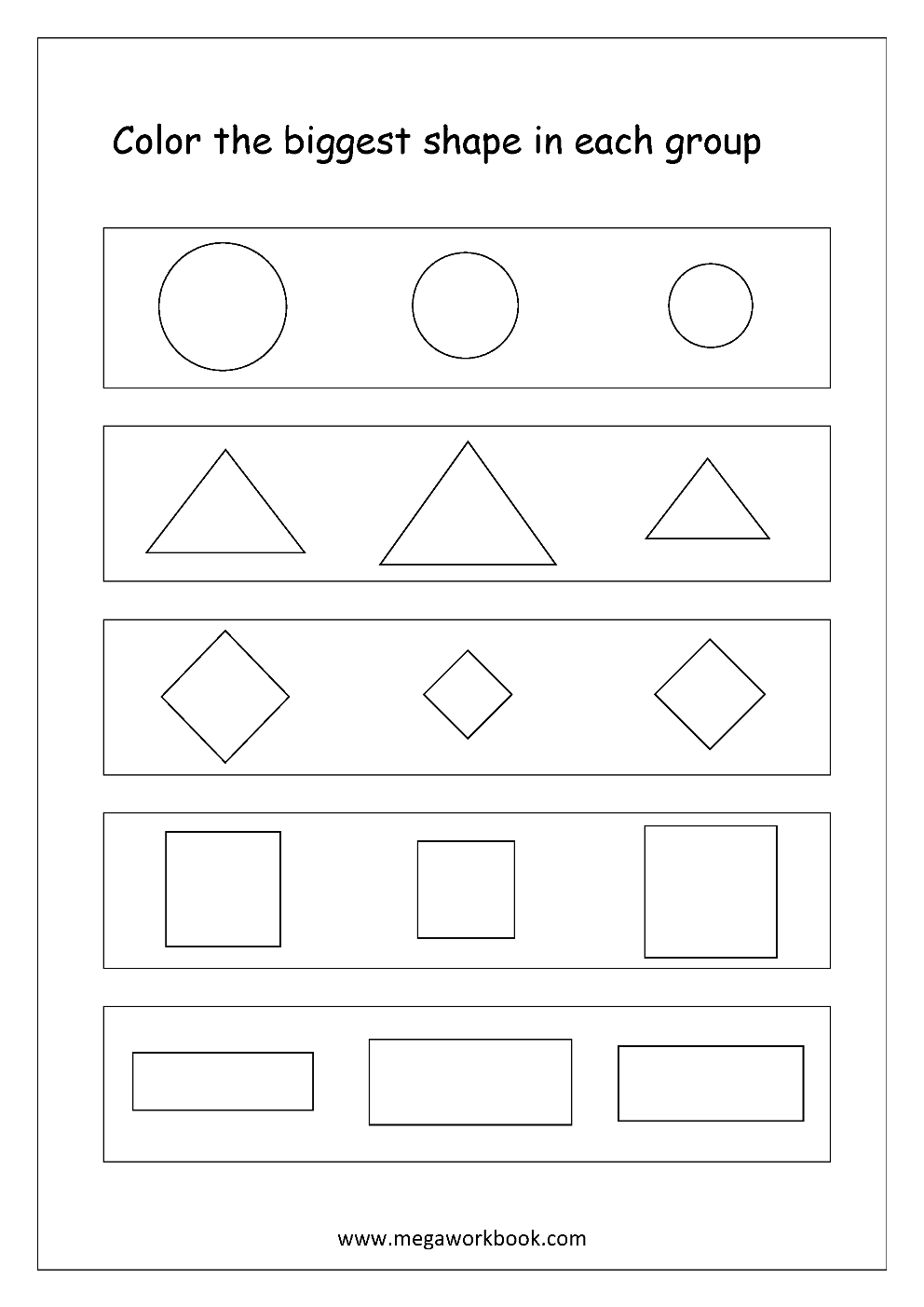 Big Bigger Biggest Worksheets For Kindergarten