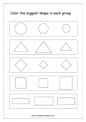 Big And Small Worksheet 11 - Color The Biggest Object In The Group (Shapes Theme)