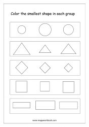 Big And Small Worksheet 01 - Color The Smallest Object In The Group (Shapes Theme)