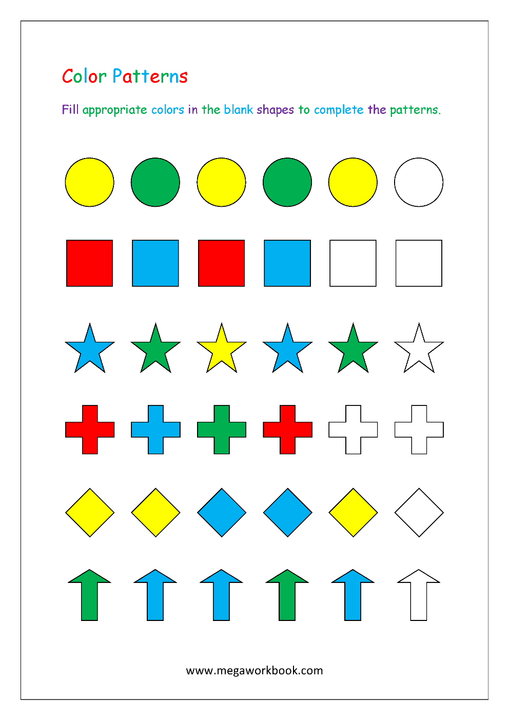 Pattern Worksheets For Kindergarten - Color Patterns ...