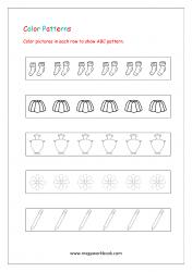 Color Pattern Worksheet - Repeating ABC Patterns - Patterns Worksheets For Kindergarten