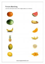 Picture Matching Worksheet - Match Fruits To Their Sliced, Cut or Chopped Part