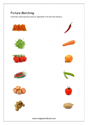 Picture Matching Worksheet - Match Vegetables To The Pile They Belong To