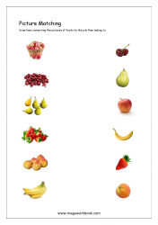 Picture Matching Worksheet - Match Fruits To The Pile They Belong To