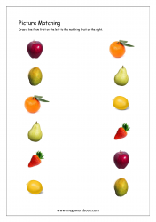 Picture Matching Worksheet - Fruits Themed