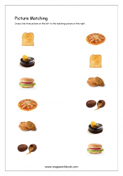 Picture Matching Worksheet - Match Same Food Items