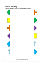 Picture Matching Worksheet - Match Picture To Other Half (Shapes Themed)