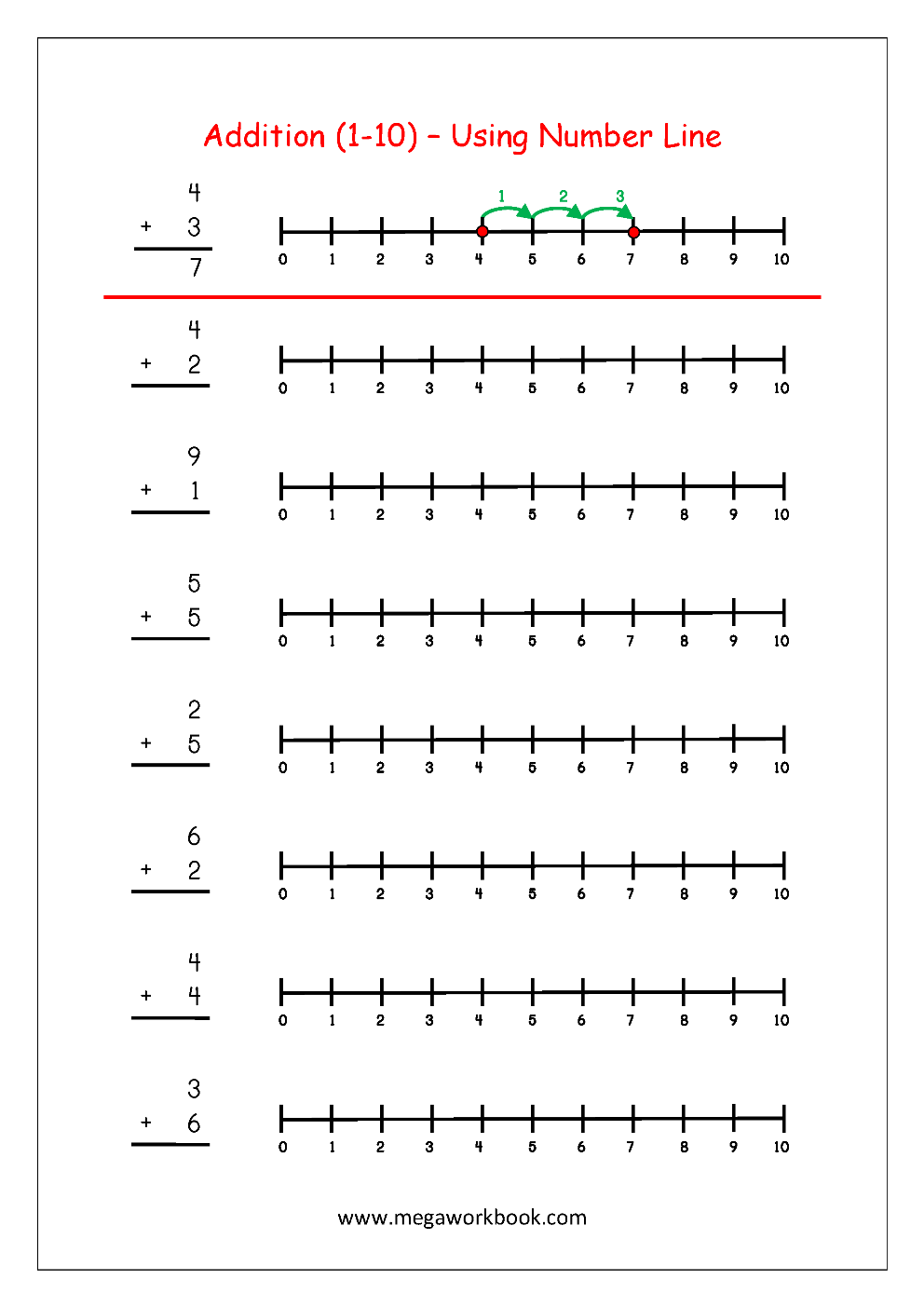 Free Printable Number Addition Worksheets 1 10 For Kindergarten And Grade 1 Addition On Number Line Addition With Pictures Objects Megaworkbook
