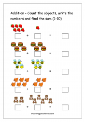 Math Printable Worksheet - Single Digit Addition With Pictures/Objects (1-10)