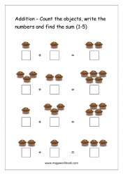 Math Printable Worksheet - Single Digit Addition With Pictures/Objects (1-5)