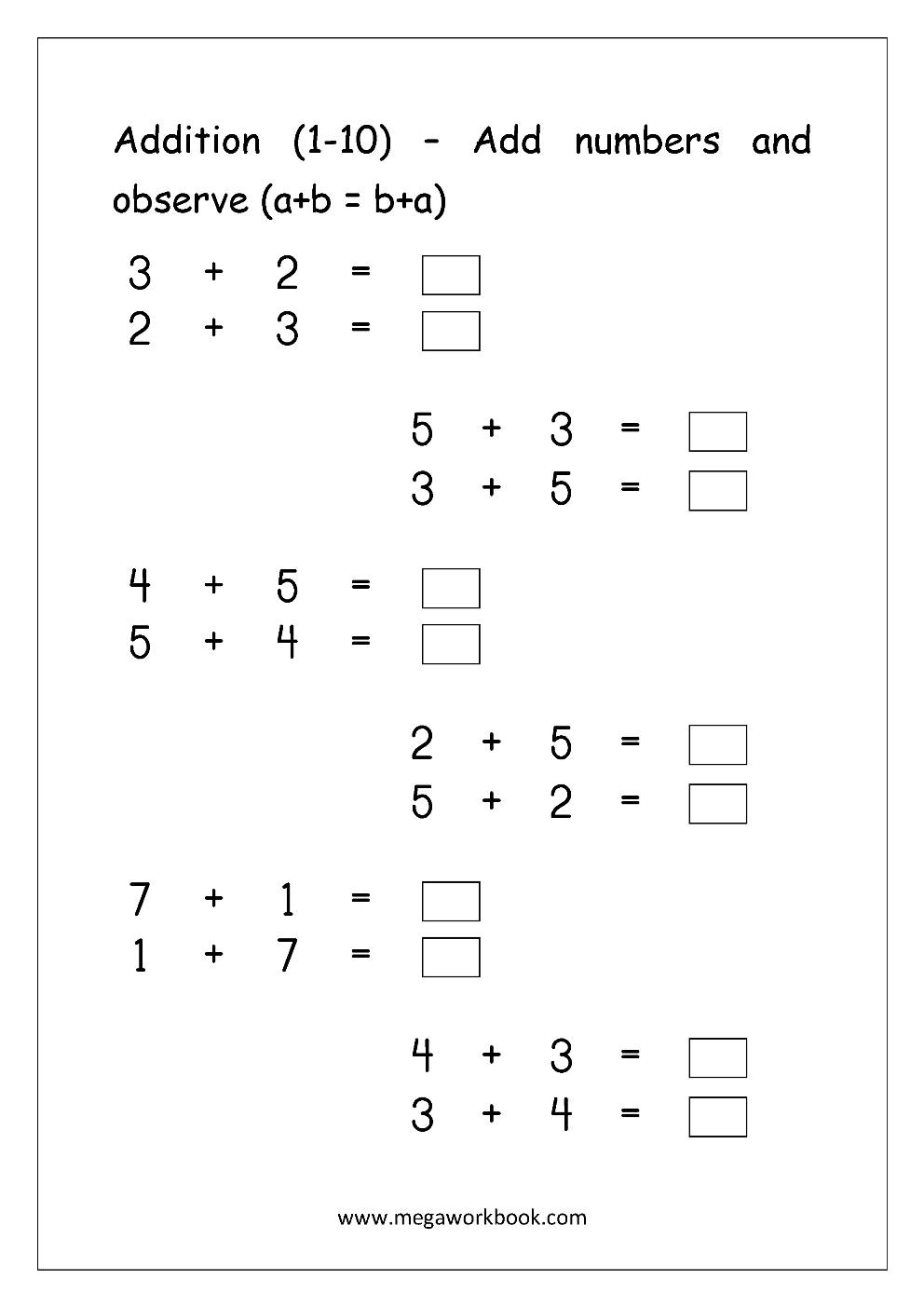 Workbooks number practice worksheets : Free Math Worksheets - Number Addition - MegaWorkbook