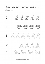 Math Number Counting Worksheet - Count And Color Correct Number Of Objects (1-5)