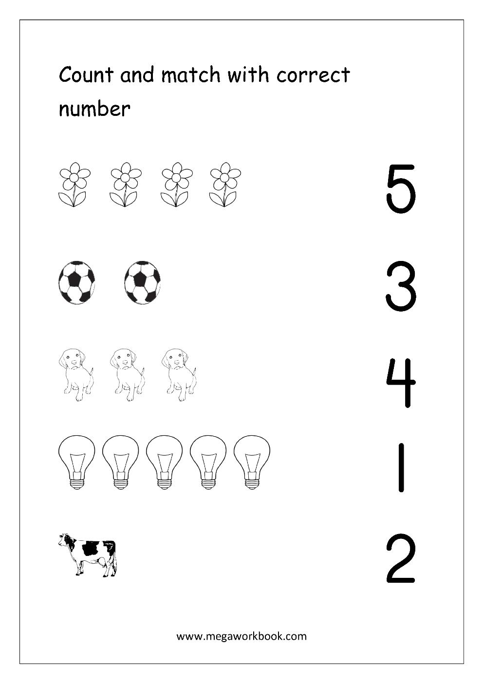 Workbooks number one worksheets : Free Math Worksheets - Number Matching - MegaWorkbook