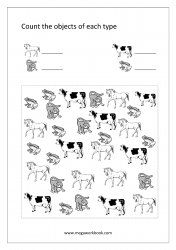 Math Number Counting Worksheet - Count The Objects Of Different Types (1-10)