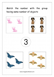 Match Counting And Number Matching Worksheet - Match Objects To Number (Number 3)