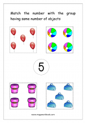 Match Counting And Number Matching Worksheet - Match Objects To Number (Number 5)