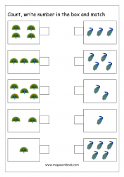 Math Counting And Number Matching Worksheet - Count And Match The Groups With Same Number Of Objects (1 to 5)