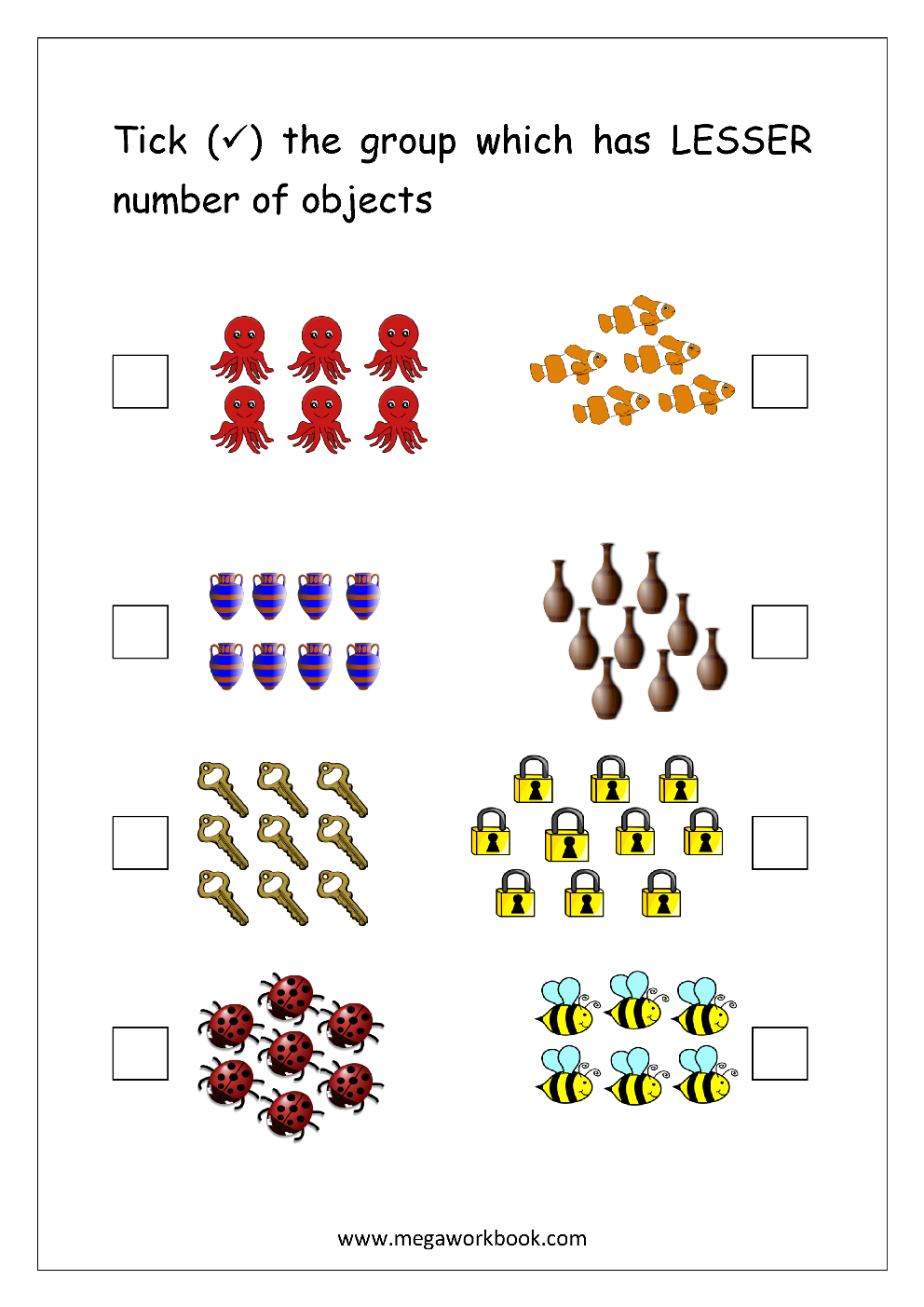 Free Printable More Or Less Worksheets - Greater Than ...