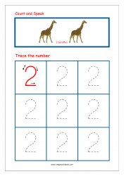Number Tracing Worksheet - Tracing Numbers (1-10) - Tracing Number 2