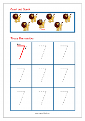 Number Tracing Worksheet - Tracing Numbers (1-10) - Tracing Number 7