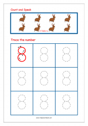Number Tracing Worksheet - Tracing Numbers (1-10) - Tracing Number 8
