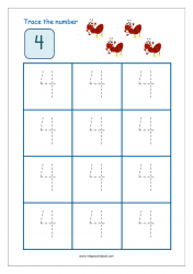 Number Tracing Worksheet - Tracing Numbers (1-10) - Tracing Number 4