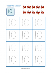 Number Tracing Worksheet - Tracing Numbers (1-10) - Tracing Number 10