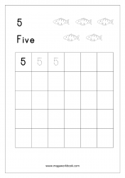 Tracing Numbers - Number Tracing Worksheets - Tracing Numbers 1-10 - Number Five (5)