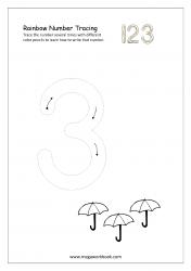Rainbow Writing Worksheet - Rainbow Tracing Number 3
