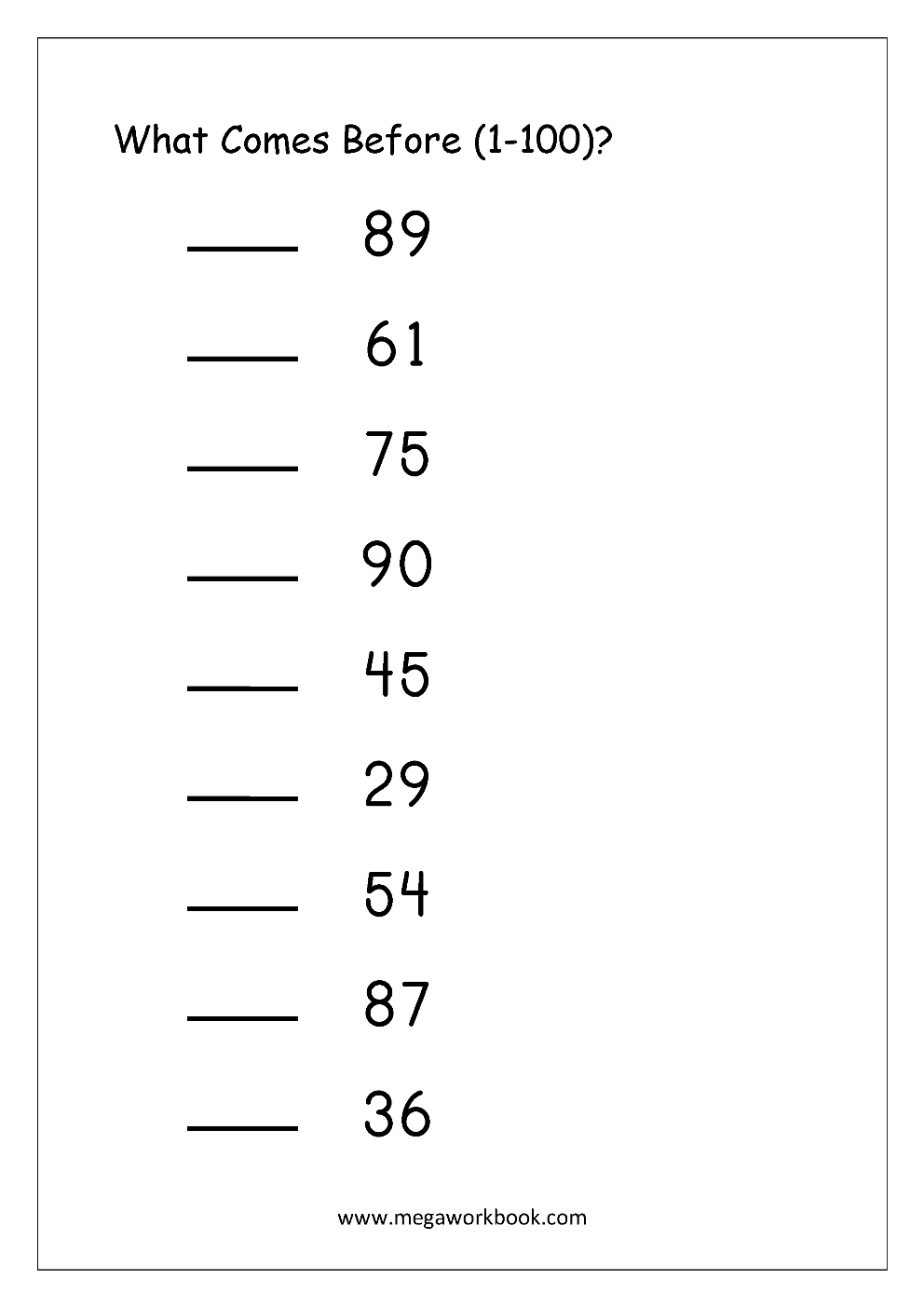 Ordering Numbers Worksheets, Missing Numbers, What comes ...