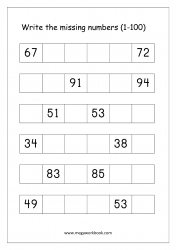 Missing Numbers Worksheet (1-100) - Find the Missing Number