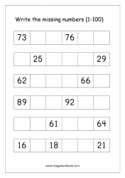 Missing Numbers Worksheet (1-100) - Fill in Missing Number