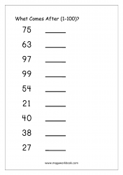 Ordering Numbers (1-100) - What Comes After Number Worksheet