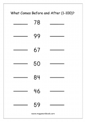 Ordering Numbers (1-100) Worksheet - What Comes Before And After Number