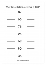 Ordering Numbers (1-100) - What Comes Before And After Number Worksheet