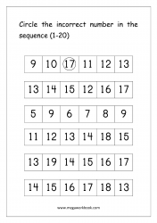 Ordering Numbers (1-20) Worksheet - Circle The Incorrect Number In Sequence