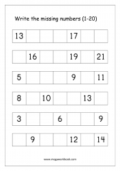 Missing Numbers Worksheet (1-20) - Find the Missing Number