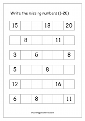 Missing Numbers Worksheet (1-20) - Fill in Missing Number