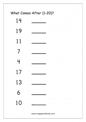 Ordering Numbers Worksheet (1-20) - What Comes After Number
